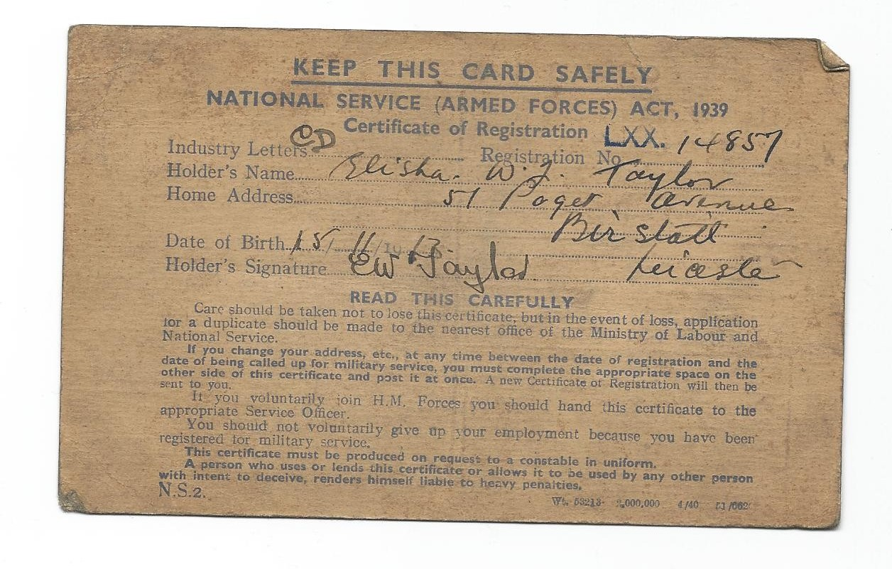 National Service Card, 1939