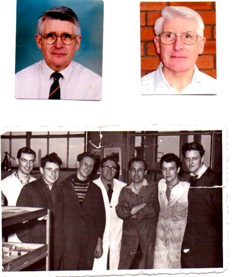 Top photo; Geoff in the 1990s and now. Photo beneath; Early days, second left, with Gordon Green and Ernest Martin.